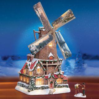 Thomas Kinkade Christmas Windmill Hawthorne Village Lights up FS USA