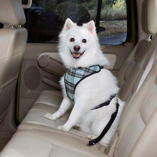 Classic Plaid Car Vest Harness Dog Seat Belt SM/MD Blue
