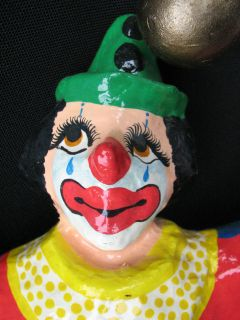 Mexican Paper Mache Hanging Clown Folk Art Signed on foot Saul