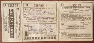 Greyhound Bus Ticket 1950 Omaha Nebraska Pass