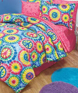 Sign Twin Comforter Set   Tie Dye Psychedelic Retro Decor Bedding Set