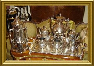 CHRISTOFLE FRANCE SILVERPLATE TEA COFFEE SAMOVAR KETTLE SET