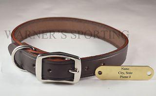 WARNER CUMBERLAND LEATHER DOG COLLAR DARK BROWN 1 X 25 WITH FREE