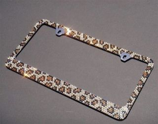 Premium Brown Leopard Diamond License Plate Frame(A Type Screw Cap)