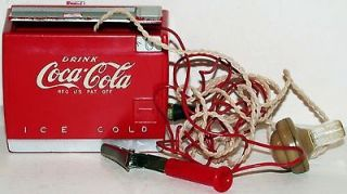 Old COCA COLA crystal radio set shaped like a minitaure cooler 1950s n