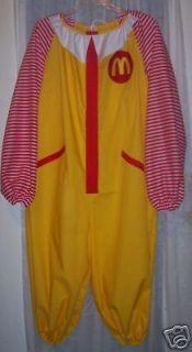 New Adult Ronald McDonald Clown Costume Halloween LG XL w/Socks Free