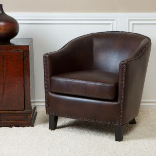 Allegro Tub / Barrel Design Distressed Brown Leather Club Chair