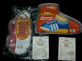WILTON LOT 2 RETIRED CAKE PANS SUPERSTAR SHOE & GOLF BAG (BEER MUG