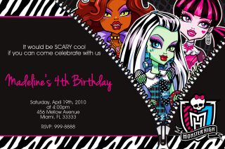 Monster High Birthday 4X6 or 5x7 Invitations U PRINT