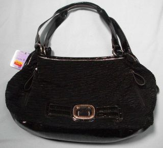 RICCHI black handbag purse shoulder large tote NEW NWT pleated cloth