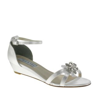 Tillie White Satin Dyeable Low Heel Wedge Bridal Wedding Shoes