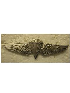 NAVY   PARACHUTIST BADGE (JUMP WINGS) SILVER OXIDE