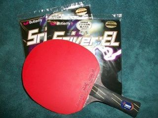 Butterfly Sriver EL Rubbers (2) on a Crystal Carbon 7 Layer Racket