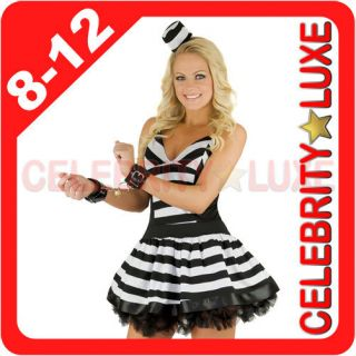 New Ladies Prisoner Convict Black & White Fancy Dress Up Costume