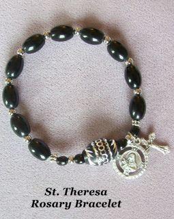 BLACK & SILVER Rosary Bracelet St Saint Anne Rita OR Theresa holy