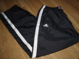 Adidas mens black white swishy athletic track PANTS XL