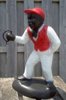 Black Jocko Jockey Boy Concrete Garden Lawn Statue *Pick Up Only