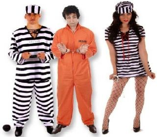 Womens Male Female Prisoner Convict Jailbird Fancy Dress Up Costume