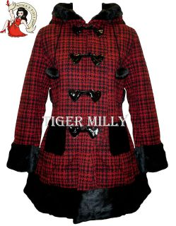 HELL BUNNY WOMENS WINTER RED STAR COAT SIZE 8 16