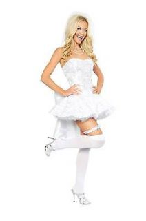 Sexy 4PC Fantasy Bride Halloween Costume W/WO PETTICOAT THIGH HIGHS S