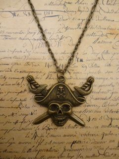 Bronze Pirate Skull and Crossbones Cross Bones Pendant Necklace
