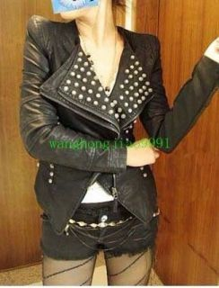 New Womens Punk Spike Studded Shoulder PU Leather Jacket coat Size S