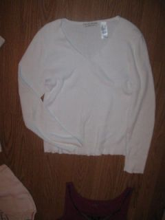 CRAZY HORSE Bright White Rib Fabric V Neck LS Stretch Knit Shirt L