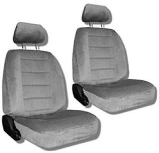Grey Quilted Velour Car Auto Truck Seat Covers w/ Head rest Covers #4