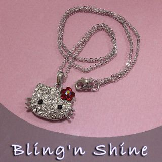 Hello Kitty Swarovski Crystal Necklace Pendant Chain New High Quality