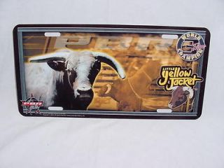 YELLOW JACKET PBR BULL RIDER RODEO METAL LICENSE PLATE