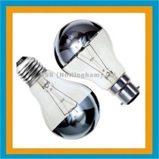 GLS Crown Silver Mirror Top Reflector Light Bulb Lamp 60w 100w BC ES