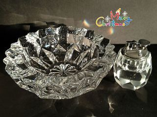 MID CENTURY CRYSTAL CIGARETTE LIGHTER AND MATCHING ASHTRAY