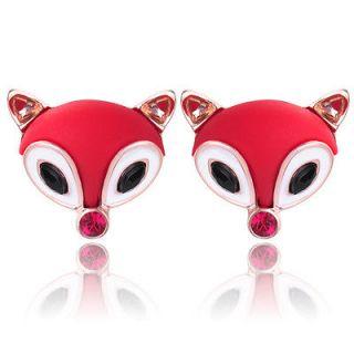 Red/Black/Silver Enamel Cute Fox Rhinestone Crystal Stud Earrings