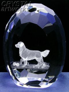 GOLDEN RETRIEVER 3D Laser Etched Crystal Easter Egg 22e