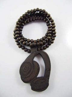 1p Hip Hop wooden headse Rosary Beads Necklace Mens