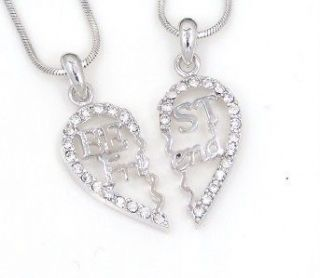 ♥♥ Heart Silver Tone Pink Crystal 2 Pendants 2 Necklaces New USA