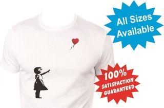 banksy heart balloon Womens T Shirt New White Custom Print Tee