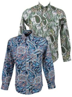 Mens Relco Paisley Shirt L/S Button Down Collar 2 Cols