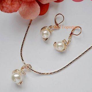 Gold Pearl Swarovski Crystal Necklace Earring Set
