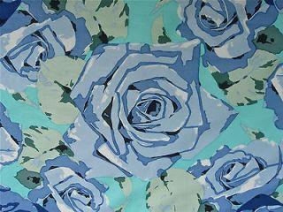 JIM THOMPSON THAI SILK SCARF BLUE CABBAGE ROSE DESIGN OUTSTANDING