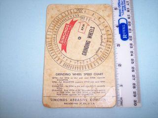 JJ050 Vintage Simond Abrasive Mech Grinding Wheel Chart