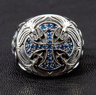 MEDIEVAL BLUE SAPPHIRE CROSS 925 STERLING SILVER MENS RING Sz 8.5