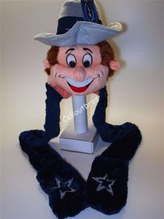 Official Licensed NFL Dallas Cowboys Team Mascot Hat With Scarf
