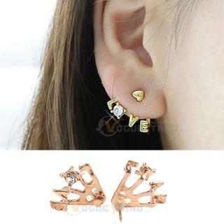 Style Gold Plated Clear Rhinestone Heart Love Letter Ear Stud Earrings