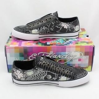 100% Auth Brand New Ed Hardy Koi Fish Geisha Glitter Black Shoes