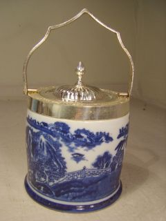 Silver Plate Lid Flow Blue Willow Pattern Biscuit Barrel / Ice Bucket
