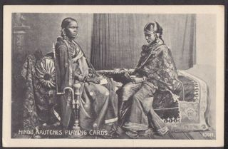 ETHNIC 2 HINDU NAUTCH GIRLS PLAYING CARDS ON DAYBED PRINTED CARD