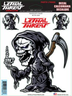 Lethal Threat Reaper With Finger Decal Sticker for Cars Motorcycles