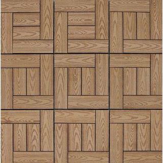 12 x 12 Interlocking Wood Grain Deck Tiles in Teak 10074880