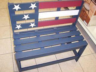BENCH AMERICAN FLAG DESIGN USA OUTDOOR PATIO DECK **CHRISTMAS GIFT